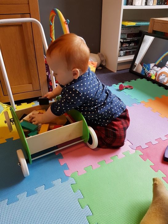 Blocks should be on the floor dad not put away nicely!