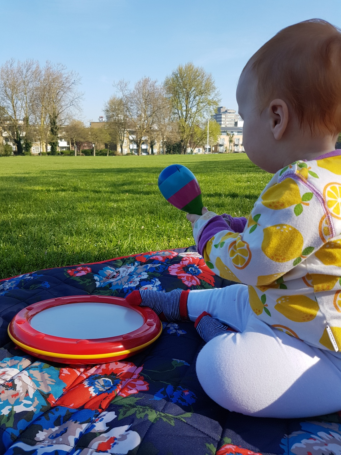10 month old baby in park with maraca in the sunshine